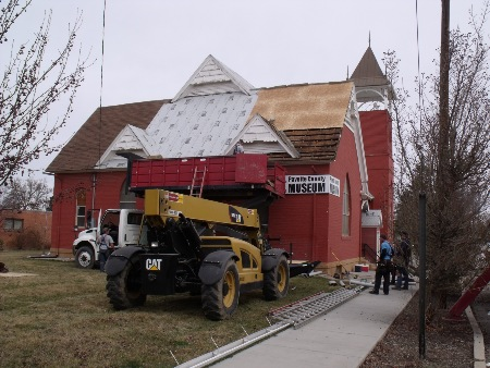 Williamson Roofing from New Plymouth, Idaho hard at work on the museum.